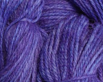 Hand Dyed Alpaca Yarn in Amethyst - Finger Wt - 250 yds
