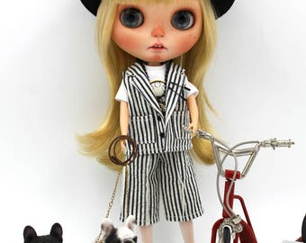 Girlish - Black & White Stripes Set for Blythe doll - dress / outfit
