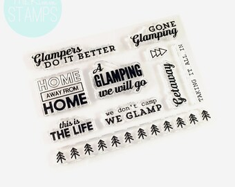 "Retiring - Ms. Kimm Creates GONE GLAMPING 3""x4"" Photopolymer Clear CAMPING Stamps - Project Life, Planner, Bullet Journal - Retiring"