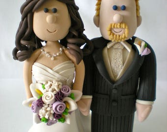 Customized Wedding Cake Toppers-Personalized Wedding Toppers-Cartoon Wedding Topper-Traditional Bride and Groom Cake Topper Figurines- Bride