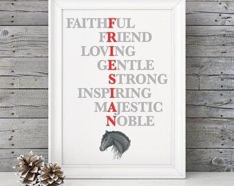 FRIESIAN Horse Art, Equestrian Decor, Horse Home Decor, Horse Print, Girls Room, Barn