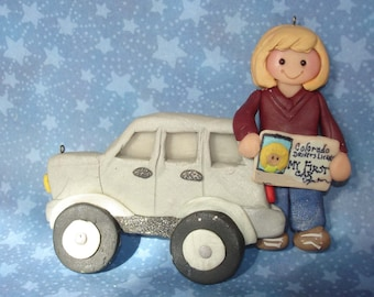 SUV License Christmas Ornament New Driver Vehicle  Car Keys Handcrafted Polymer Clay Personalized Milestone Cake Topper First Truck Jeep DL