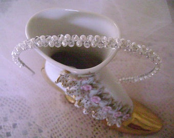 Elegant Swarovski Crystal and Pearl Communion Or Flowergirl Headband/ Ivory or white