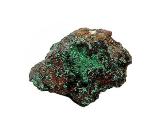 Malachite Green Crystalline Druzy on Limonite Rock Matrix Mineral Specimen Mined in the 1980s in Mexico for a geo collection