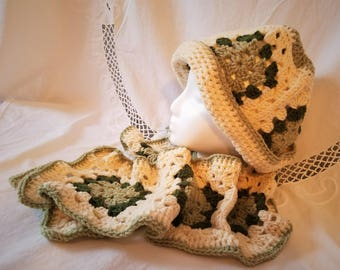 Handmade Crochet White and Green Granny Square Hat and Scarf Set