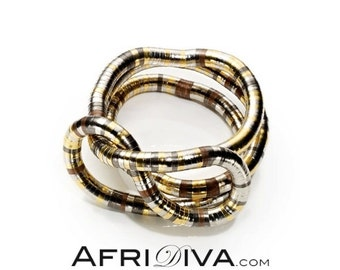"""AfriDiva """"TRICOLOR"""" - as Necklace, Bracelet or Ring! Endless flexible jewellery. Handmade out of 100% recycling material."""