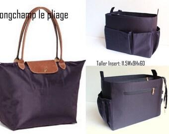 Taller Purse organizer Fits large Longchamp Le Pliage- Bag organizer insert in Dark Navy Blue
