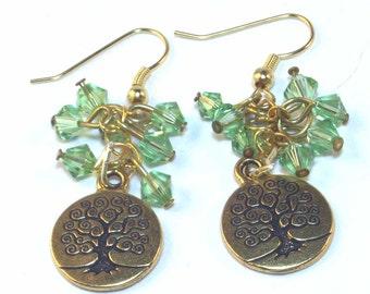 Tree of Life Earrings - Goldtone