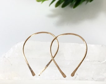 Small Hoop Earrings, Arc Earrings, Gold Hoop Earrings, Hook Earrings, Silver Earrings, Upside Down Hoop, Ear Cuff Earrings