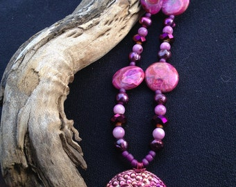 SPRING SERIES Fuchsia Crazy Lace Agate and Up-cycled Hand Dyed Metal Pendant (Nb0301)