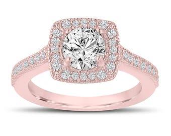 Halo Pave Diamond Engagement Ring, Wedding Ring 1.29 Carat 14K Rose Gold Certified Handmade
