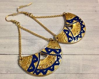 Tribal Crescent Earrings - Half Moon Earrings - Creole Hoop Earrings - Bohemian Earrings - Half Circle Earrings - Crescent Moon Earrings