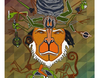 Hanuman Canvas Poster, Monkey God Wall art- Indian Art- Hanuman Art- Visionary art- Indian God- Hanuman Poster- Monkey poster- Animal Print