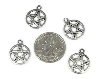 6 Antique Silver Pentagram Charms