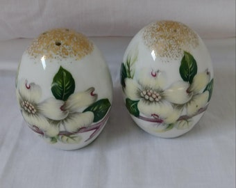 Vintage Floral and Gold Hand Painted Porcelain Salt & Pepper Shakers