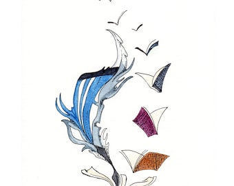 Books, Feather, Quill, Flying Away, Birds, Reading Watercolor Print