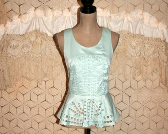 Peplum Top Small Mint Green Satin Top Sleeveless Blouse Cut Out Womens Shirts Dressy Top Womens Clothing