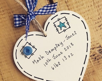 Personalised baby keepsake boy nursery bedroom playroom plaque sign birth blue heart hanging