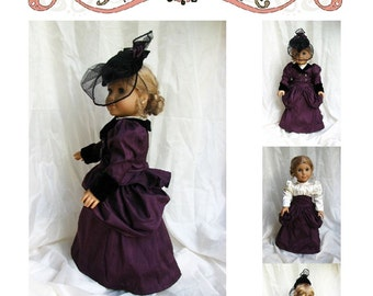 "Victorian Walking Ensemble - Underskirt, Bustled Overskirt, Blouse, Jacket, Hat for 18"" Doll - Hint of History Sewing Pattern"
