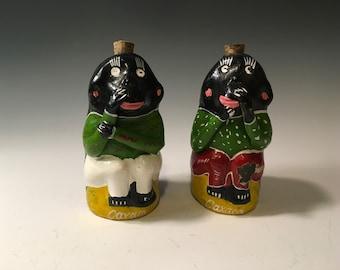 Pair of Vintage Chango Monkey Mezcal Souvenir Bottles