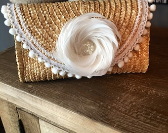 Straw Clutch Purse With White and Silver Trim and Feather Flower with Pearls