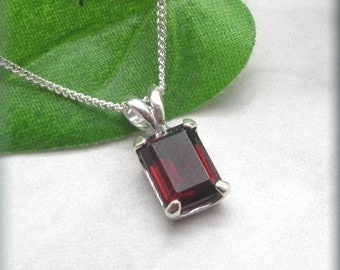 Garnet Necklace, January Birthstone, Gemstone, Garnet Jewelry, Red Necklace, Sterling Silver, Red Garnet, Octagon, Rectangle