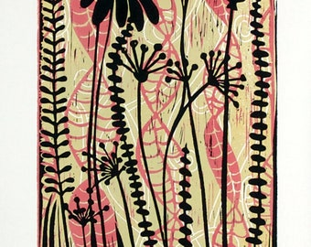 linocut printed on paper, Meadow Flowers, handprinted and signed, limited edition art, pink and green