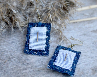 Handmade textile earrings, Fabric earrings with antique bronze beads