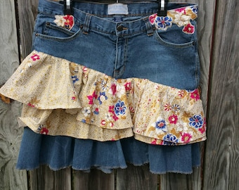 Recycled Woman Jean Skirt, OOAK Upcycled Ruffle Applique Denim Short Skirt, Refashioned Gloden Floral Festival Hippie Boho Skirt, Size 16