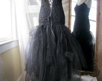 Midnight Black Wedding Dress Black Bridal Gown, Black Lace Wedding Dress,  Steampunk Bridal, Boho Wedding Dress, OOAK, Sweet Savage Love