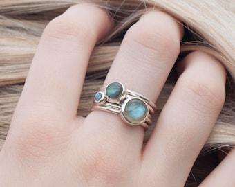 Labradorite Stacking Ring | Silver Stacking Ring | Storm Labradorite Silver Rings | Handmade Ring | Blue Stacking Ring |Alison Moore Designs