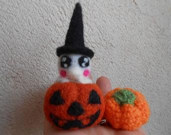 Baby pumpkin Halloween felted.