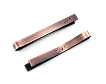 Personalised Tie Bar, Tie Clip, Tie Tack, Groomsmens Gift, Men's Accessories Gift, Copper