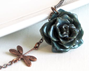 Real Rose Necklace - Blue, Natural Preserved, Dragonfly, Copper, Flower Jewelry