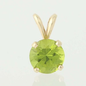 Peridot Solitaire Pendant - 14k Yellow Gold August Birthstone 1.29ctw N2385