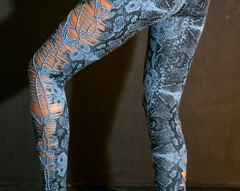 High waisted leggings/ Blue snake print / animal print / Hand made leggings/ tights / tribal