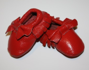 Lollipop Red Moccasin 100% genuine leather baby moccasins  Mocs moccs tassel Be my Valentine