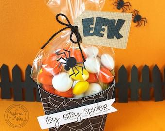 KIT Halloween Treat Box, Itsy Bitsy Spider Treat Box, Teacher Appreciation, Party Favor, Candy Bag, Co-Worker Treat, Office Treat, Classroom