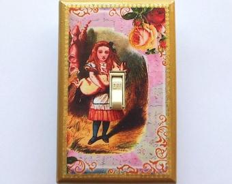 Fancy trims on Alice in Wonderland switchplates with MATCHING SCREWS- Wonderland room Alice art prints Alice Wonderland wall art decorations