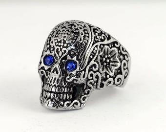 Womens Biker Motorcycle NEW Stainless Steel Blue Eyed Skull Ring Sz 5-9
