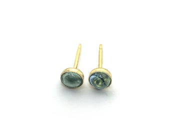 Tiny studs 4mm swiss blue topaz cabochons in 14K gold filled settings