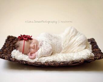 Red Silk Baby Flower Headband, Newborn Headband, Baby Girl Flower Headband, Photography Prop