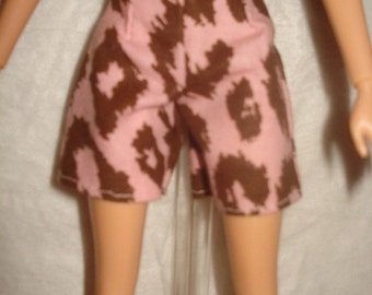 Fashion Doll Coordinates - Pink and brown Leopard print shorts - es134