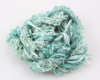 Aqua Teal Ocean Blue Silk embroidery Thread Silk ribbon Hand Dyed sewing weaving supplies embellishment  jewellery supplies