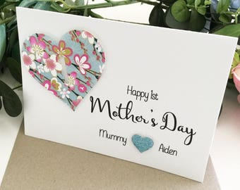 First Mother's Day Gift from Daughter Son Baby First Mothers Day Card Happy Mother's Day Gift Idea Mom Mummy Mum Personalised Floral Heart