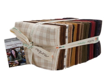 Moda Fabrics - 100% Cotton Fabric - Fat Quarter Bundle - Homespun Gatherings Woven Fabrics - by Primitive Gatherings