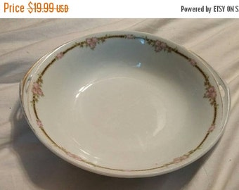 On Sale Antionette Made in Czechoslovakia 9 inch Fine China Serving Vegetable Bowl with Pink Flowers