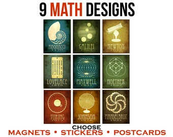 9 Math Stickers or Magnets or Postcards. Math Geek Gift. Steampunk Rock Star Scientist History Art. STEM Illustrations. Mathematicians Art
