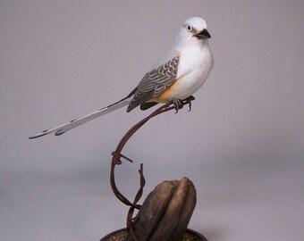 Scissor-tailed Flycatcher Hand Carved Wooden Bird