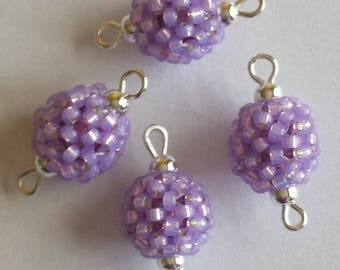 4 seed connectors (2mm) beads iridescent purple